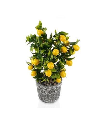 Çiçekmisin Porselen Saksıda Yapay Limon Ağacı Renkli